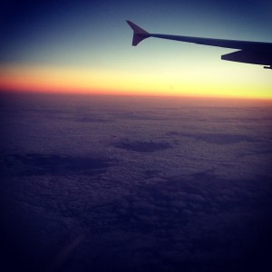 Flying high above a bed of clouds in to the Melbourne sunset. Office views...